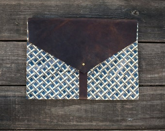 Handmade Leather and Canvas Laptop Case