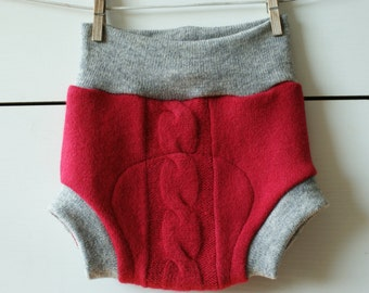 L size upcycled wool diaper cover, soaker