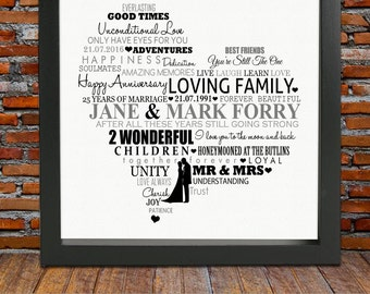 Personalized Silver Anniversary gift - 25 years anniversary gift, 25th wedding anniversary gift, 25th anniversary gift, ready to print