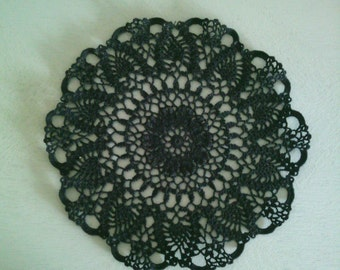 Set of 2 placemats round black crochet