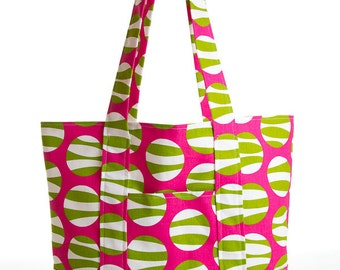 Bright Pink with Green/White Circles Large Square Bottom Tote