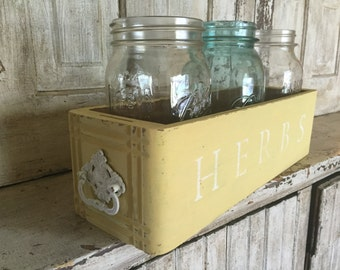 """Wood """"HERBS"""" Container"""