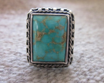 Native American Rectangle Turquoise Ring