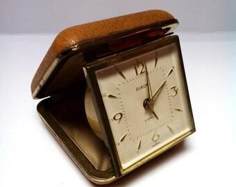 On Sale Vintage German Europa travel alarm clock, leather case travel alarm clock, 1960s