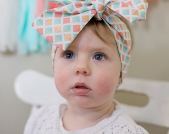 Rosie Wrap-headwrap; peach , teal and gold print; fabric head wrap; newborn headband; baby headband; toddler headband; adult headband; girl
