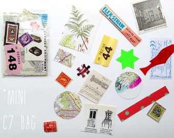 Mini Instant Collage Kit- lucky dip vintage ephemera / Scrapbooking / Decoupage / Mail Art
