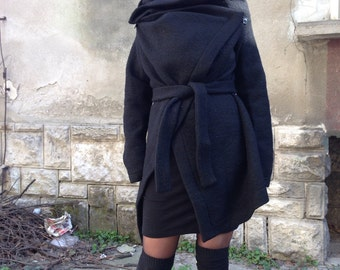 Black Asymmetrical wool wrap coat - cardigan /Cowl Neck asymmetrical Oversized Wrap