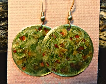 Handcrafted Etched Brass Earrings #70307