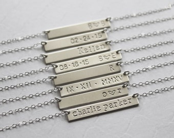 Silver nameplate necklace, sterling silver bar necklace, personalized bar necklace, custom gift, bridesmaid gift, gift for wife