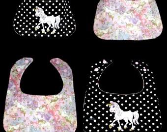bib birth baby girl embroidered Unicorn