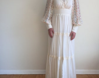 70's Nu-Mode ivory & lace prairie dress XS