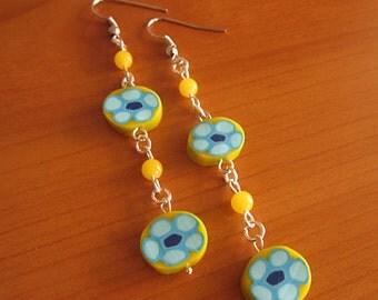 Earrings polymer clay fimo polymer clay-handmade-murrine-