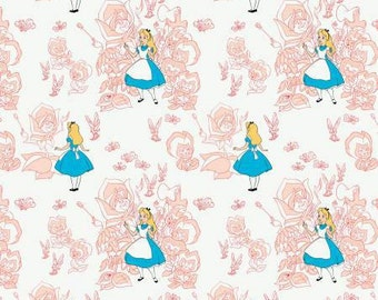 Alice in Wonderland, Golden Afternoon Blush flowers, cotton fabric by Camelot Fabrics