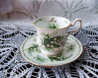 Vintage May Coffee Cup and Saucer Set, English Bone China Coffee Cup and Saucer Serving.