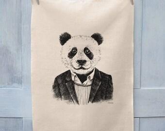 Hipster Panda Illustration Tea Towel