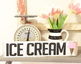 Ice Cream Wood Sign
