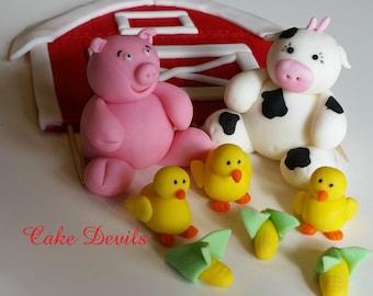 Flat Barn & Farm Animal Fondant- Cake Topper Kit, Handmade Edible, Barn Farm Animal Cake Decorations