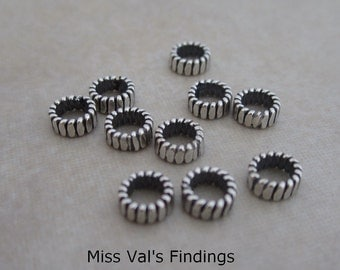 10 sterling silver Bali spacer beads 5mm