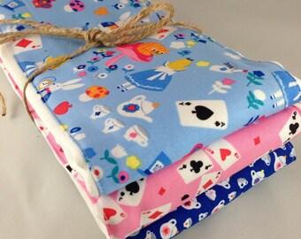 Burp cloths, Alice in Wonderland, Tea pot, White Rabbit, Disney, baby girl, baby shower