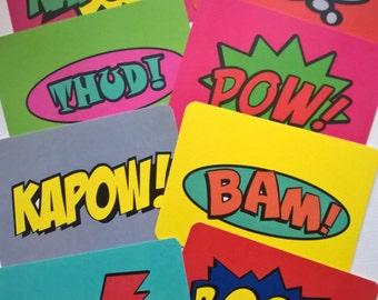 16 Printed Journalling cards: 8 Comic Book Wording+ 8 Random