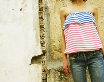 Strapless Tops // Ruffled Striped// 6 Sorbet Icecream Colour Combinations