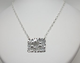 sterling silver heart plaque necklace