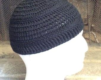 Black Kufi, Crochet Khufi, Mens Beanie, Womens Slouch Beanie, Crocheted Beanie, Knit Beanie, Fall Apparel