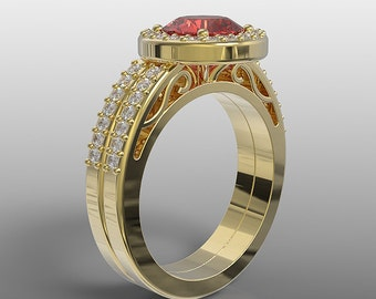 14k yellow gold halo engagement ring and wedding band set for her, 7mm round ruby and natural white diamonds, AKR-489 halo