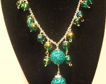 Teal Necklace and Earring set.