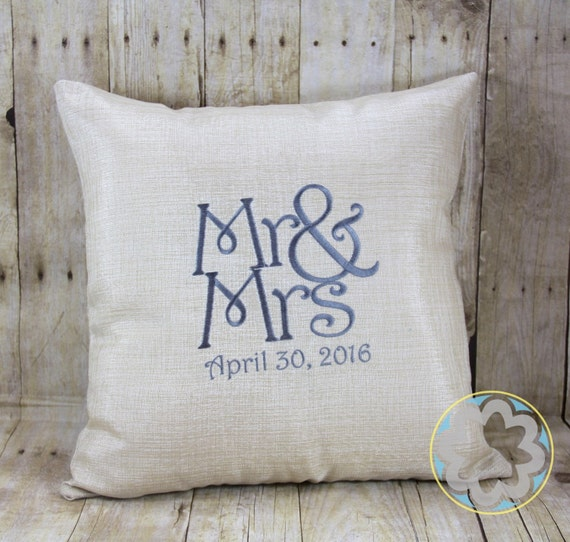 Embroidered wedding pillow gift anniversary