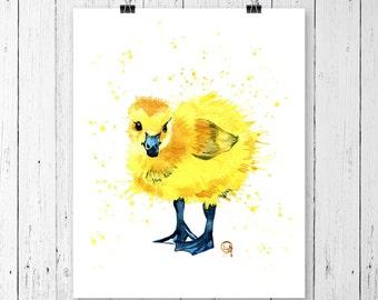 CANADA GOOSE PRINT, Gosling, Bird Art, Bird print, Canada Goose Art, Nursery art, Woodland animal, Baby duck print, baby duck watercolour