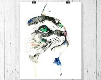 CAT PRINT, cat art, cat watercolour, modern watercolour, pet art, pet portrait, gallery wall, kitten, feline, green eyes