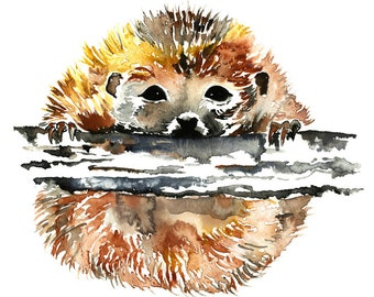 hedgehog art, hedgehog print, hedgehog watercolour, hedgehog painting, woodland nursery, nursery print, woodland animal, forest animal