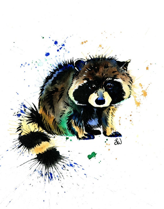 Raccoon Print Raccoon Art Raccoon painting by ... Raccoon Painting