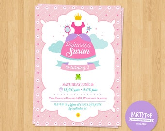 Personalized Princess Party Invitation (digital file)