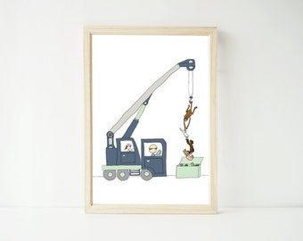 Children's art print – truck print – construction site print – kids illustration - modern kids art - boy's room - modern Danish
