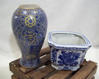 Asian Blue Gold Vase,Oriental Vase, Blue Floral