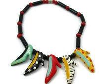 FLYING COLORS Shoe Necklace Ceramic High Heel Shoes Colorful Black Red Painted Hand Signed 18 Inches Long Vintage Costume Jewelry Gift Ideas