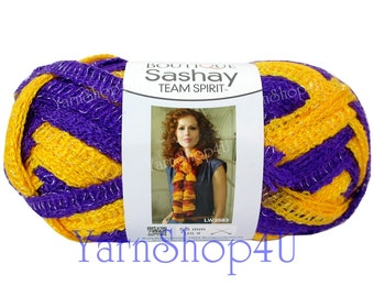 PURPLE/ GOLD Team Spirit Red Heart yarn Sashay colors Ruffle lace ribbon yarn scarf knit crochet Rumba Costume Yarn fluffy scarf