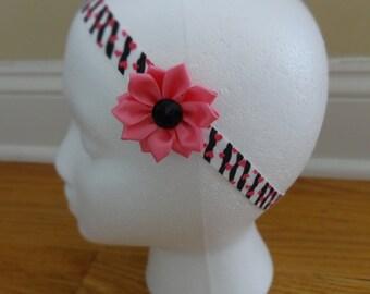 Zebra Print Heart and Flower Headband