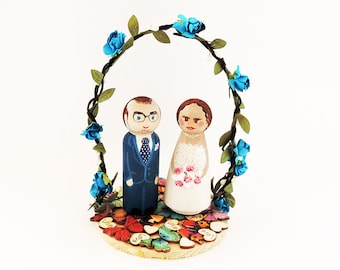 Wedding cake toppers butterflies - Cake topper wedding wood with flower and Butterfly - A to customize (without figurines)