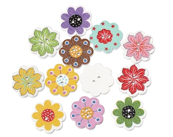 Wooden Buttons, 20mm, Mixed Flower and Colours. Ideal for sewing, knitting, card making, scrapbooking and other craft projects