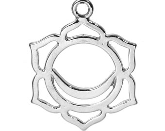 2 Silver Tone Chakra Pendant - Swadisthana /Svadhisthana (Sacral Chakra) 3cm