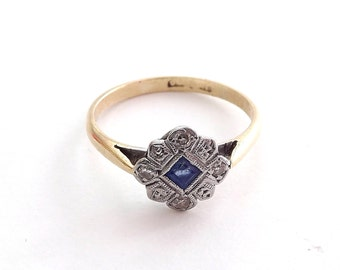 Sapphire and Diamond Ring in Daisy Cluster Setting With Square Cut Sapphire and Diamonds and Millgrain Finish