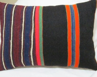 "Turkish Anatolian  patchwork Kilim Pillow cover 14""x20"""