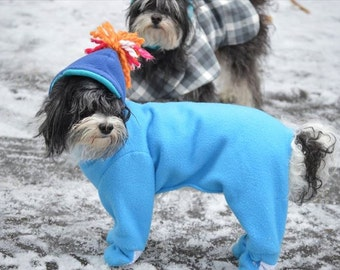 Winter Custom Made Dog suit with booties / Each suit is made to order according to your dogs measurements.