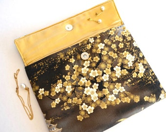 Cherry blossom clutch, Japanese fabric wallet, cherry purse, gift for girlfriend, envelope clutch, travel wallet, gold brown purse