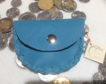 Coin Purse, Pocket Pouch with Snap, Change Purse, Blue Leather Coin Purse,  Made in Canada