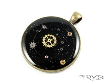 Solar System - steampunk medallion hand crafted of watch parts