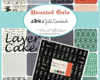 "Moda Haunted Gala Layer Cake, 37110LC The Comstocks, 42 Pre-Cut 10"" Squares, Halloween Quilt Fabric, Moda Halloween Fabric Bundle, Cotton"